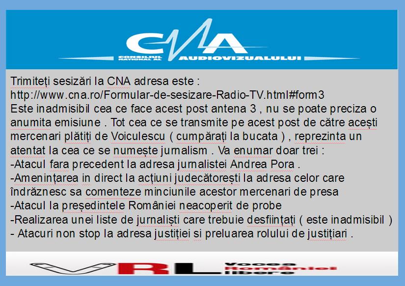 Trimiteți sesizări la CNA adresa este :  http://www.cna.ro/Formular-de-sesizare-Radio-TV.html#form3