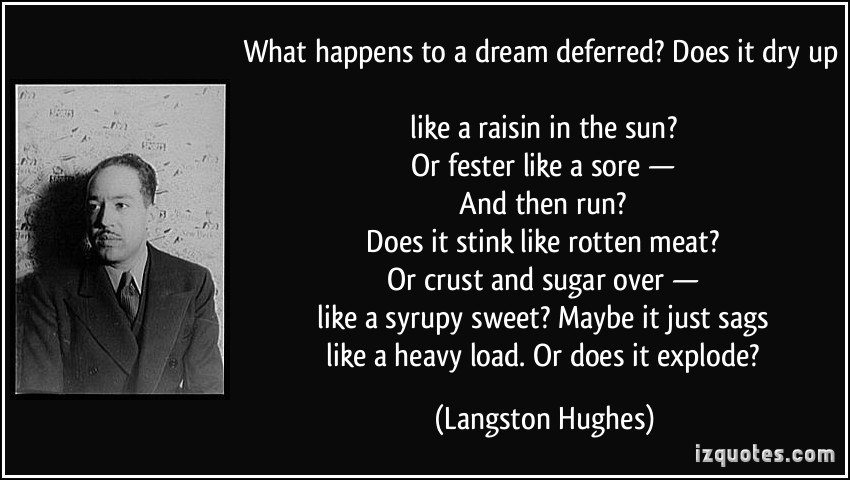 essays langston hughes dream deferred Harlem re titled dream deferred english literature essay print dream deferred by langston hughes is the poetic the dreams of hughes and the people.