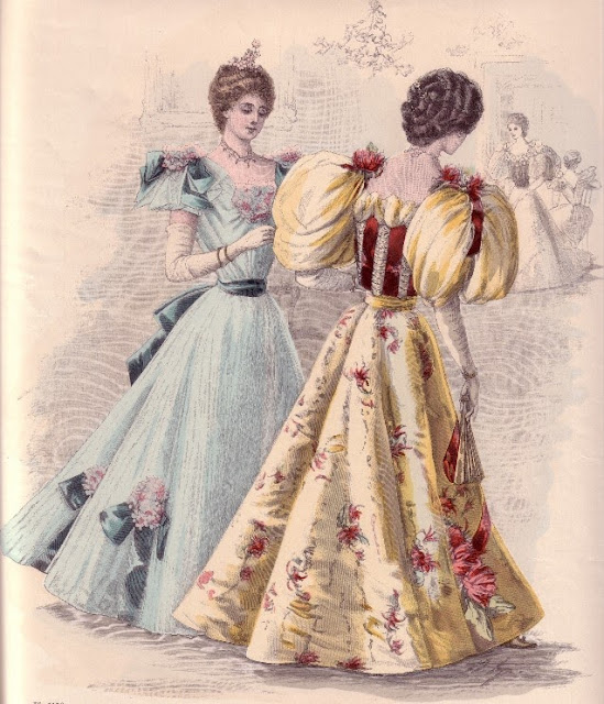 1890s evening gowns, late Victorian evening dresses with puffed sleeves, 1896 fashion plate