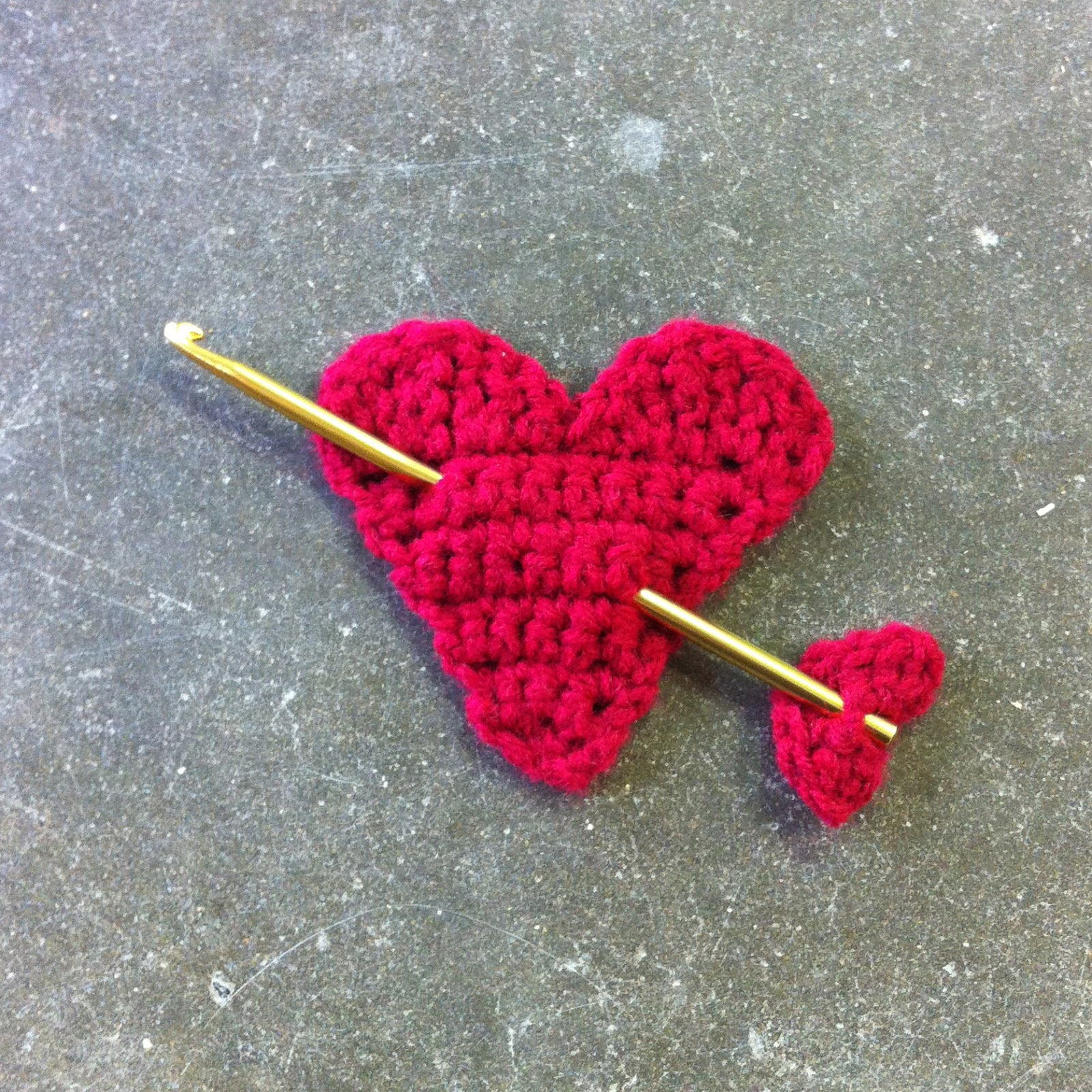 Valentine Crochet Heart with Crochet Hook Arrow