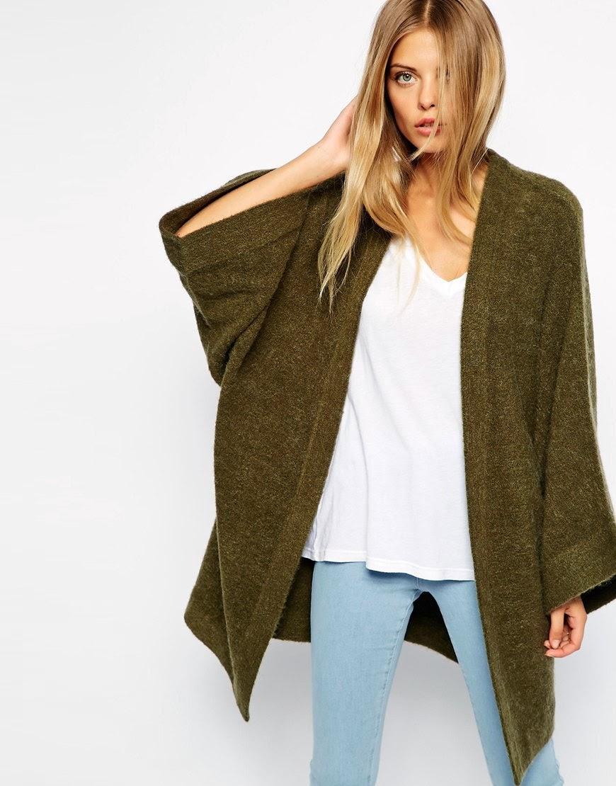 green knitted kimono