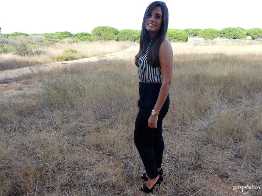 sara gigirey gossips fashion week striped overall