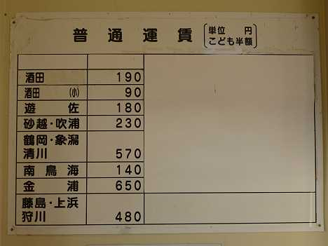 JR東日本 本楯駅 運賃表