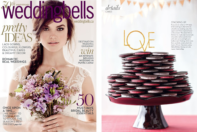 cake topper on oreo inspired tower as seen in Weddingbells magazine