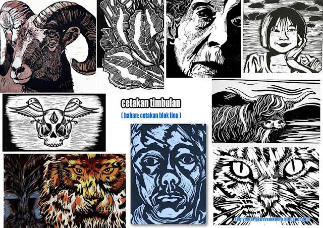 Koleksi gambar pelbagai jenis cetakan timbulan.
