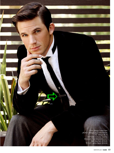 Matt Lanter wearing a tie clip by Jenny Dayco
