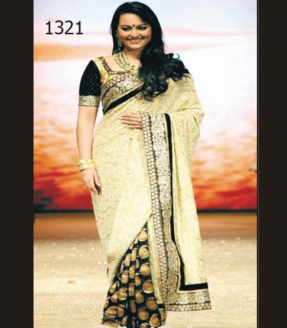 sonaxi sinha in beutiful designer short sleeve blouse saree