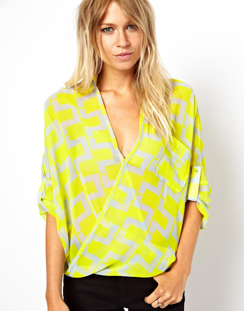 bright print blouse