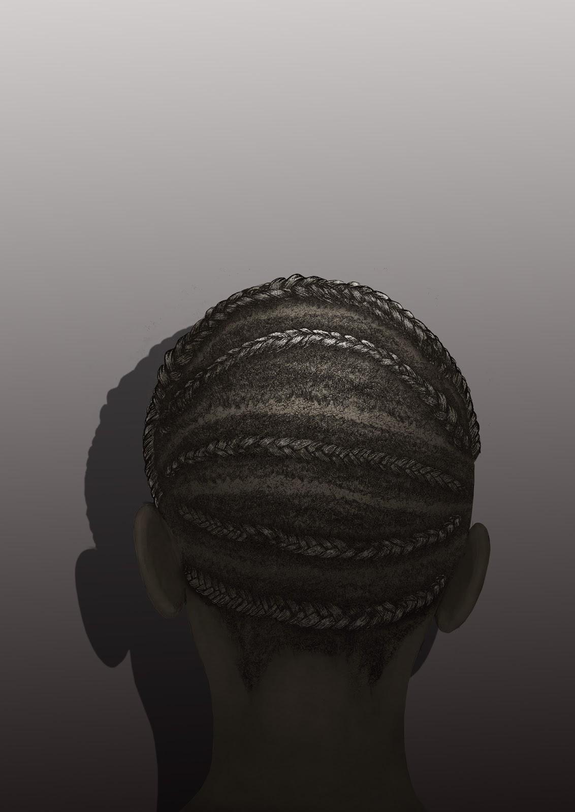 Peinado africano, trenzas africanas,  dibujo