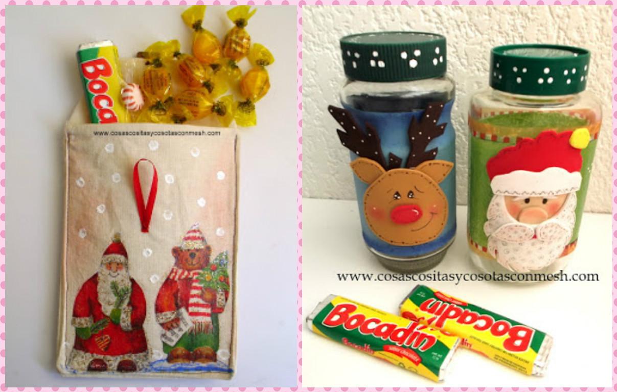 Dulceros navide os en foami reciclando cajas de leche - Cajas con motivos navidenos ...