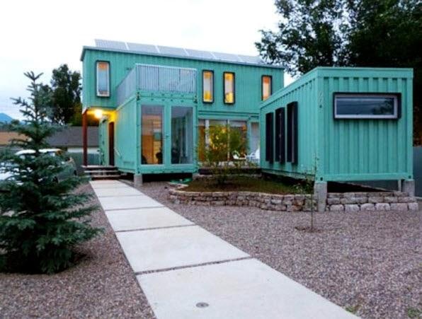Dise o de casa hecha de contenedores reciclados de dos for Casas rectangulares