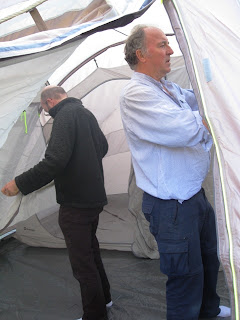 Mr A and J in the tent interior