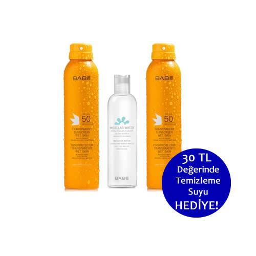 2 Adet Babe SPF 50- Transparan Güneş Koruyucu Sprey 200 ml.+100 ml. Babe Temizleme Suyu Hediye!