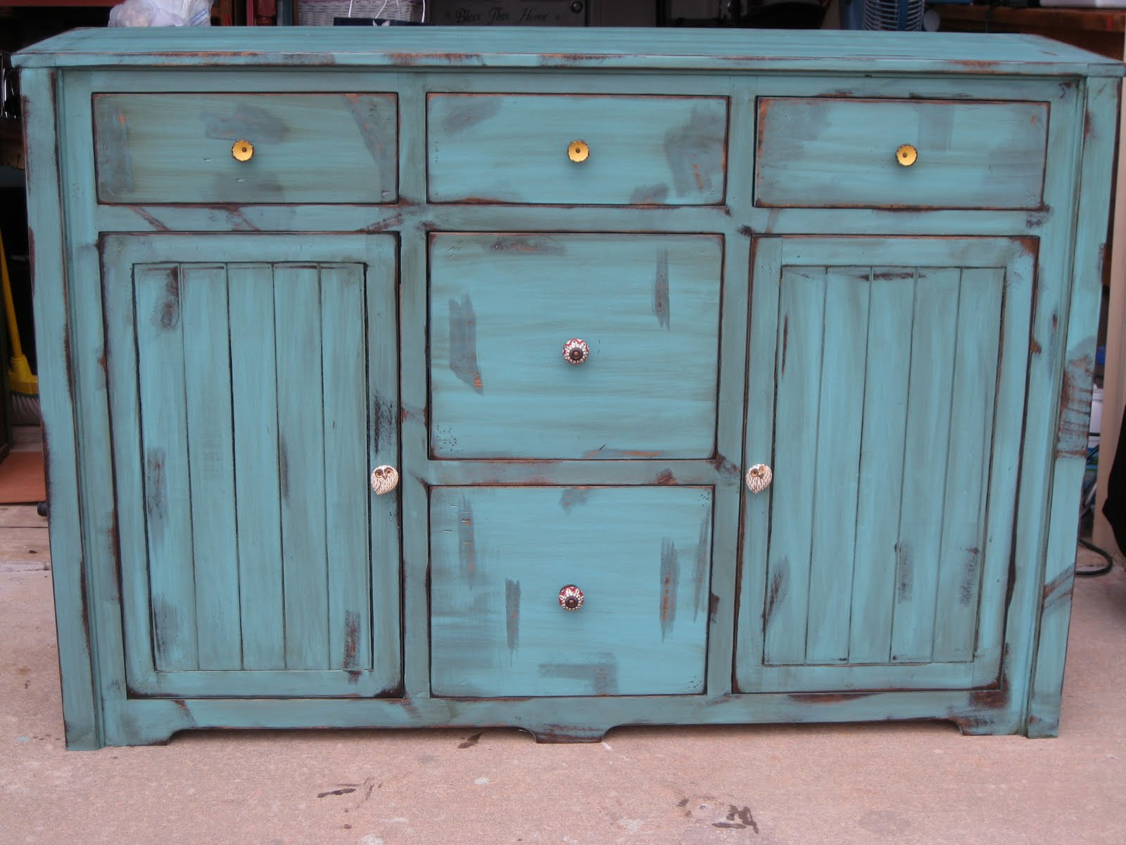 Shabby Shop Girl Distressed turquoise dresser