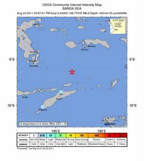 sismo 6,8 grados indonesia 30 de Agosto de 2011