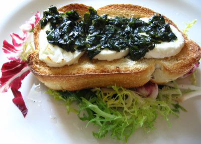 Mixed Greens with Warm Goat Cheese and Pesto on Toast