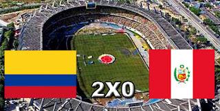 Placar Colômbia 2x0 Peru