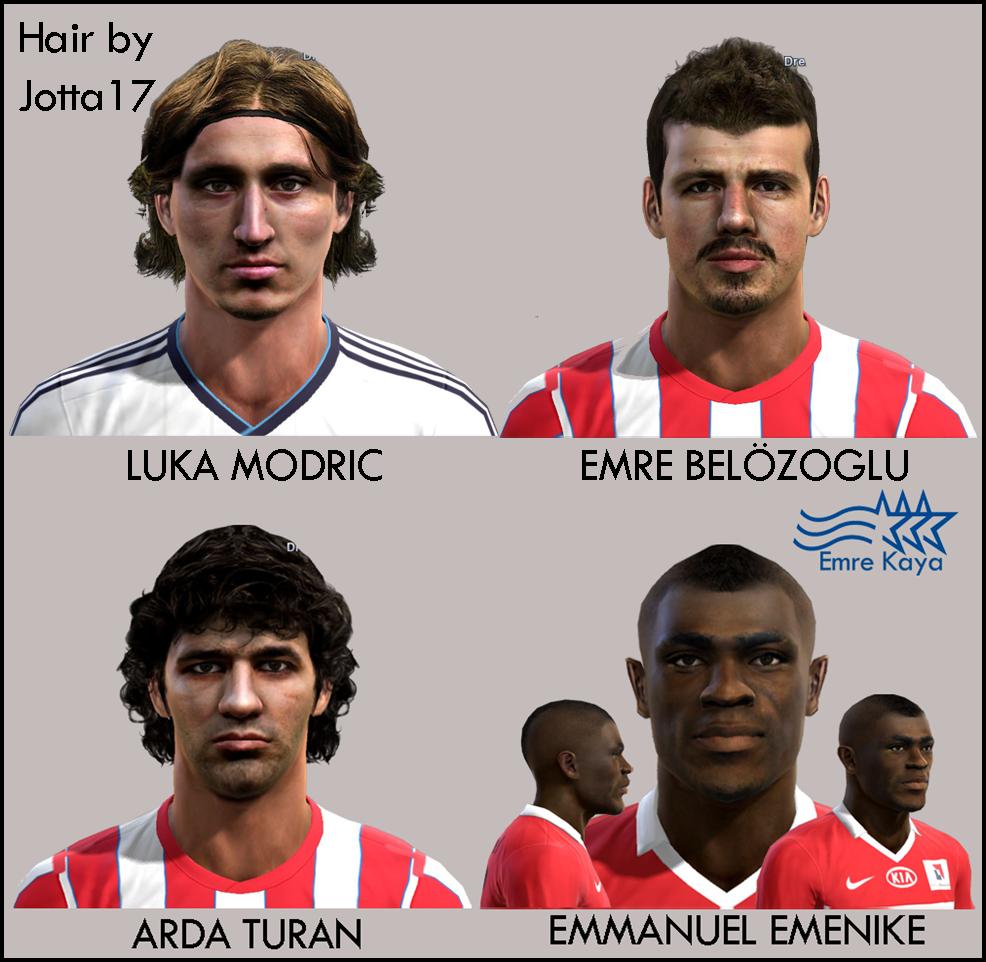 Luka Modrić, Emre Belözoglu, Arda Turan e Emmanuel Emenike Faces - PES 2013