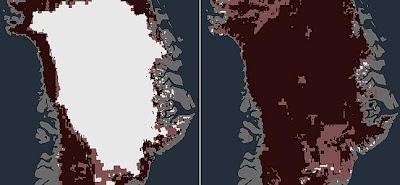 foto antes y después de groenlandia y el derretimiento del hielo