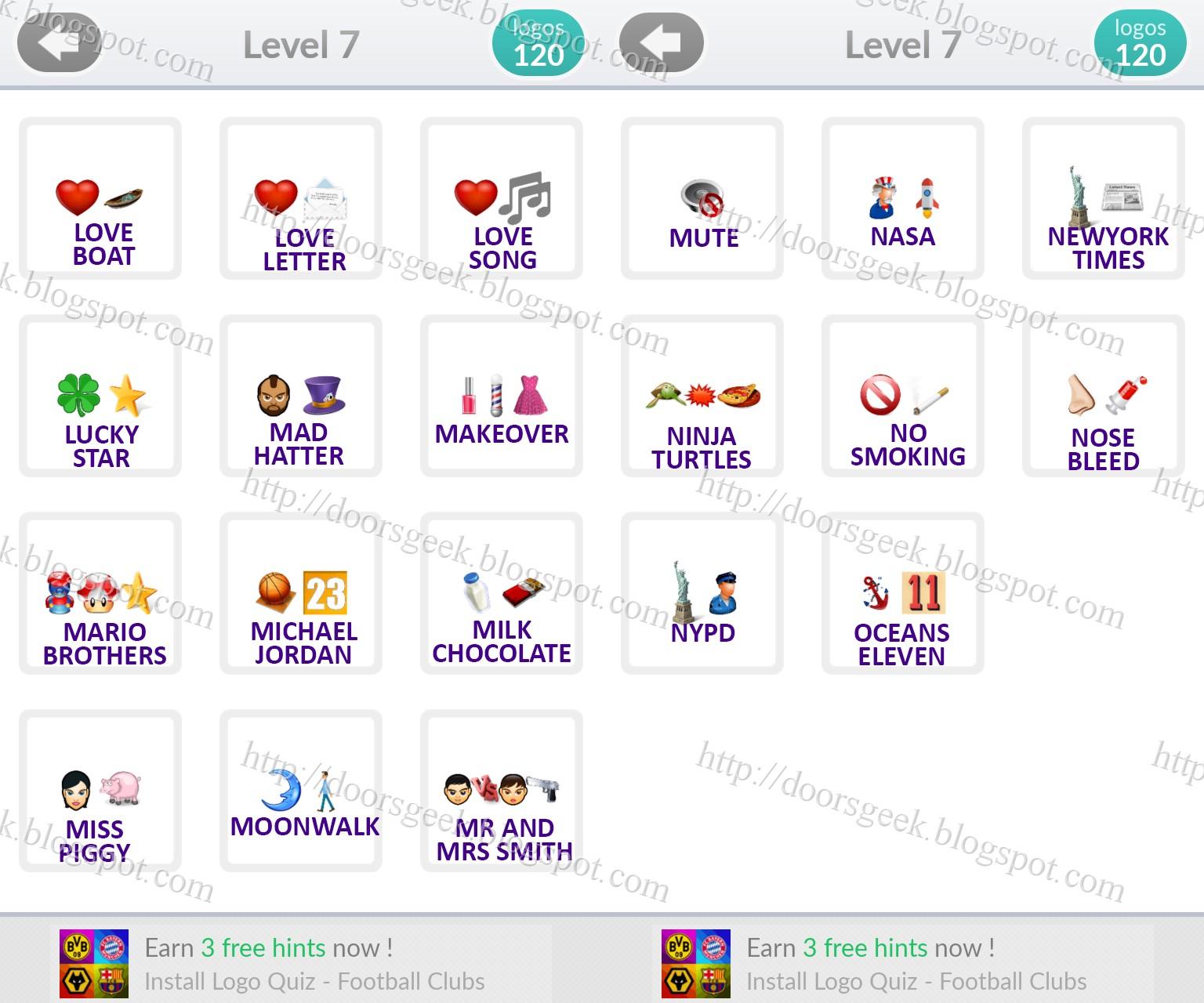 Logo quiz emoji level 7 answers by quot bubble quiz games quot