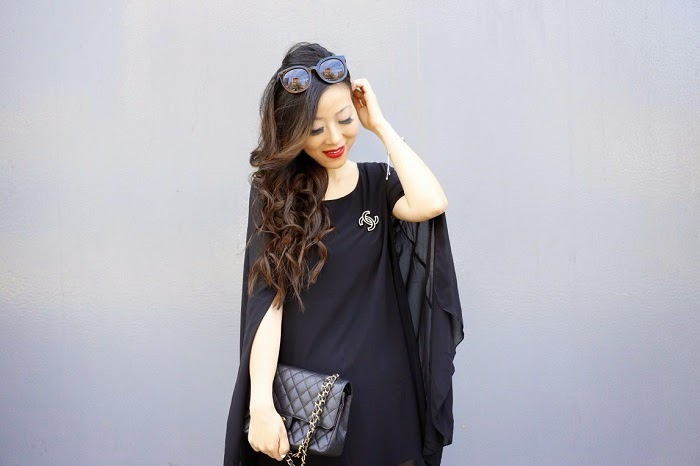 chanel bag, cape dress, fashion blog, girl, hair