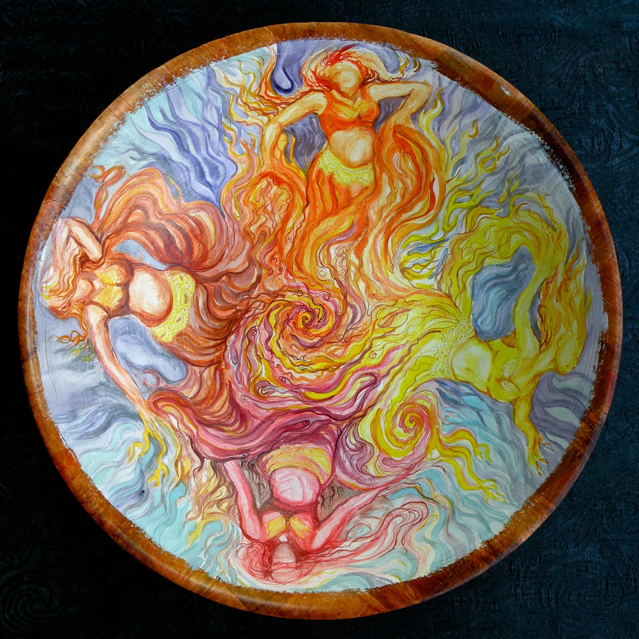 Manifesting, by Alica Wolter-Hausser. Wood, watercolour.