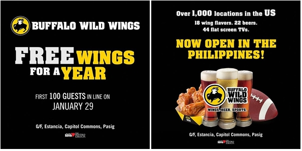 Buffalo Wild Wings Manila's Sizzling Opening Day Offering!