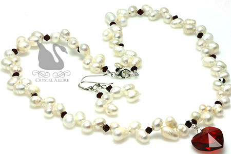Freshwater Pearl Red Crystal Heart Beaded Jewelry Set (NES4)