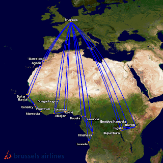 brussels airlines updated Africa route map from February 2013