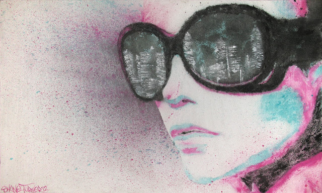 Pop art and street art meet in Montreal based artist Shane Turner's Midnight city painting of a girl wearing sunglasses with the reflection of skyline in her glasses. Created using spattered turquoise, pink, and black paint on white textured background.