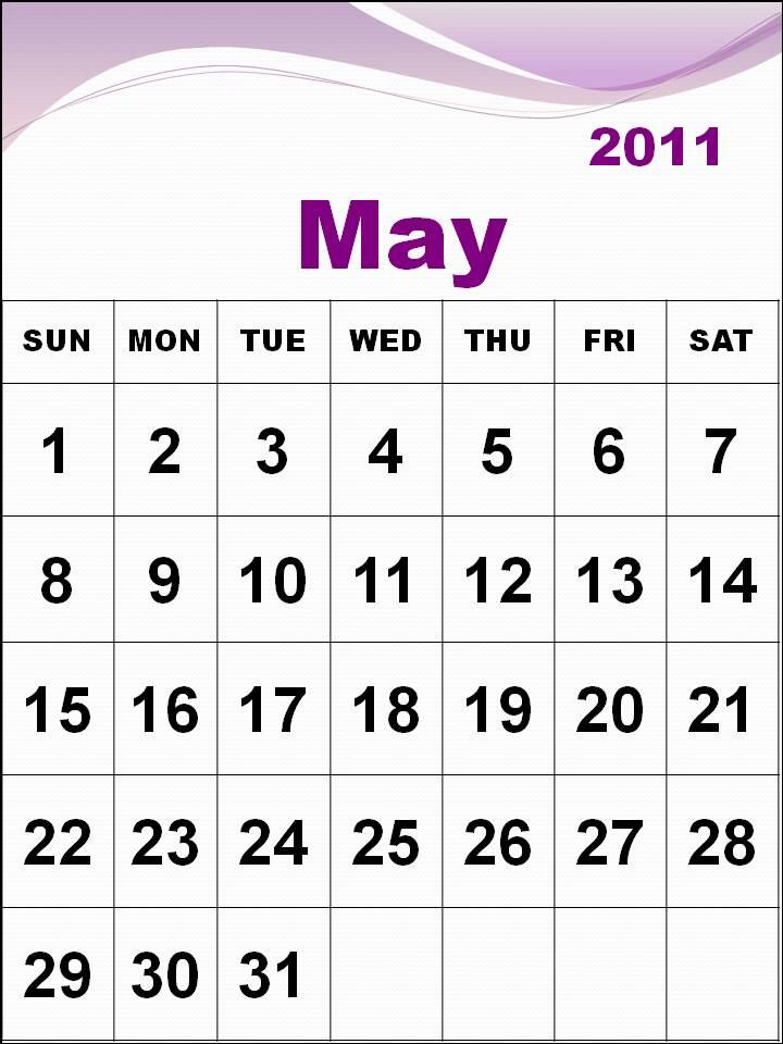 printable may calendar 2011. Printable May 2011 Calendar