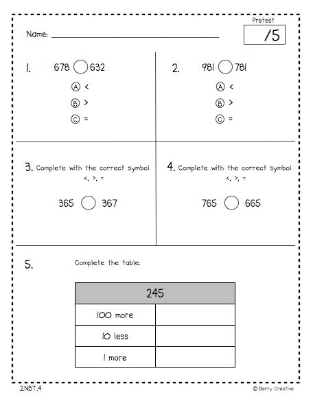 2nd grade math test pdf