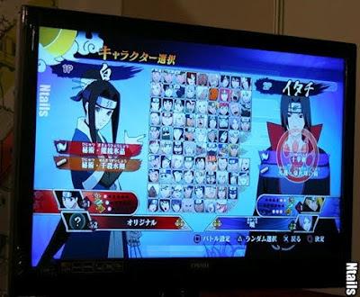 Tela de seleção de personagens do Naruto UNS Generations