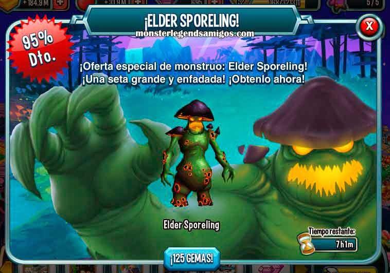 imagen de la oferta del monstruo elder sporeling de monster legends