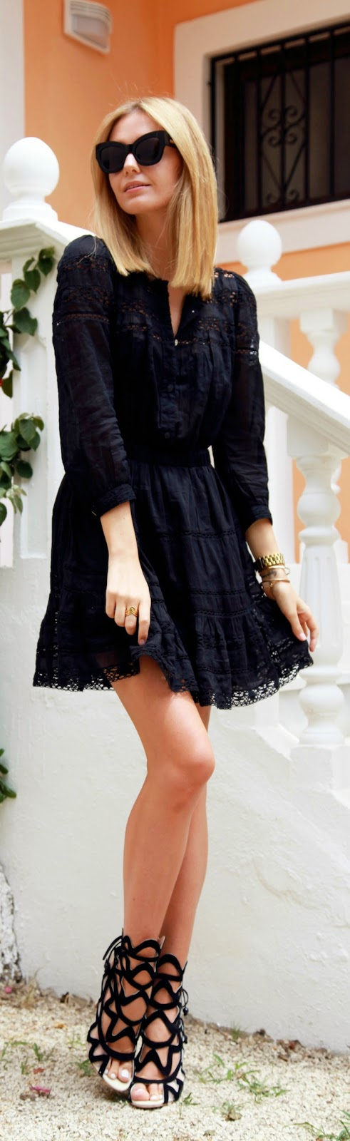 Causal Black Lace Dress with Hot Heels | Chic Outfits