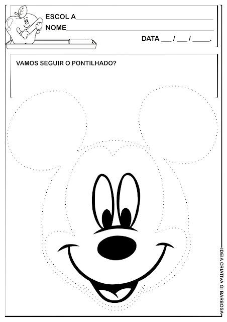 Atividade Grafismo Pontilhado Mickey