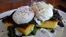 Poached eggs, polenta