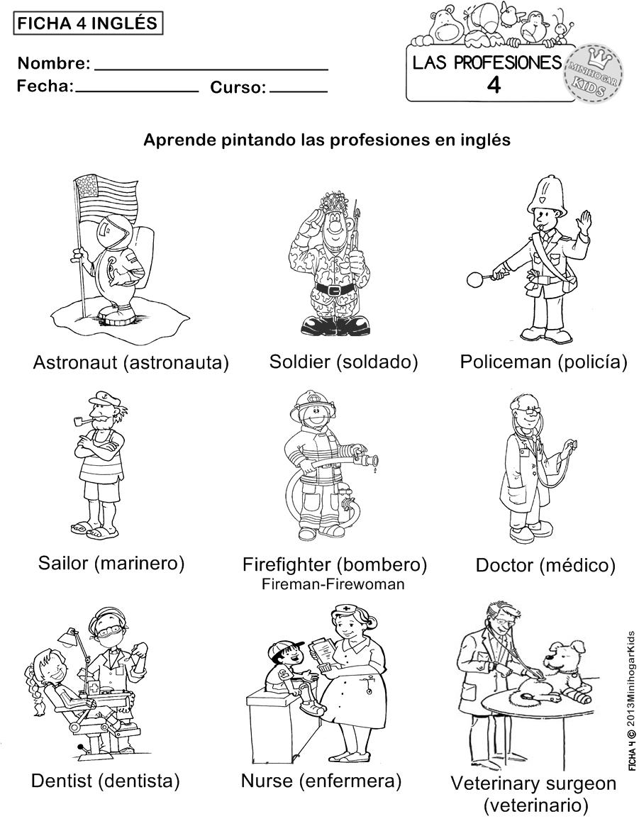 Dibujos Para Colorear De Las Profesiones En Ingles Imagui