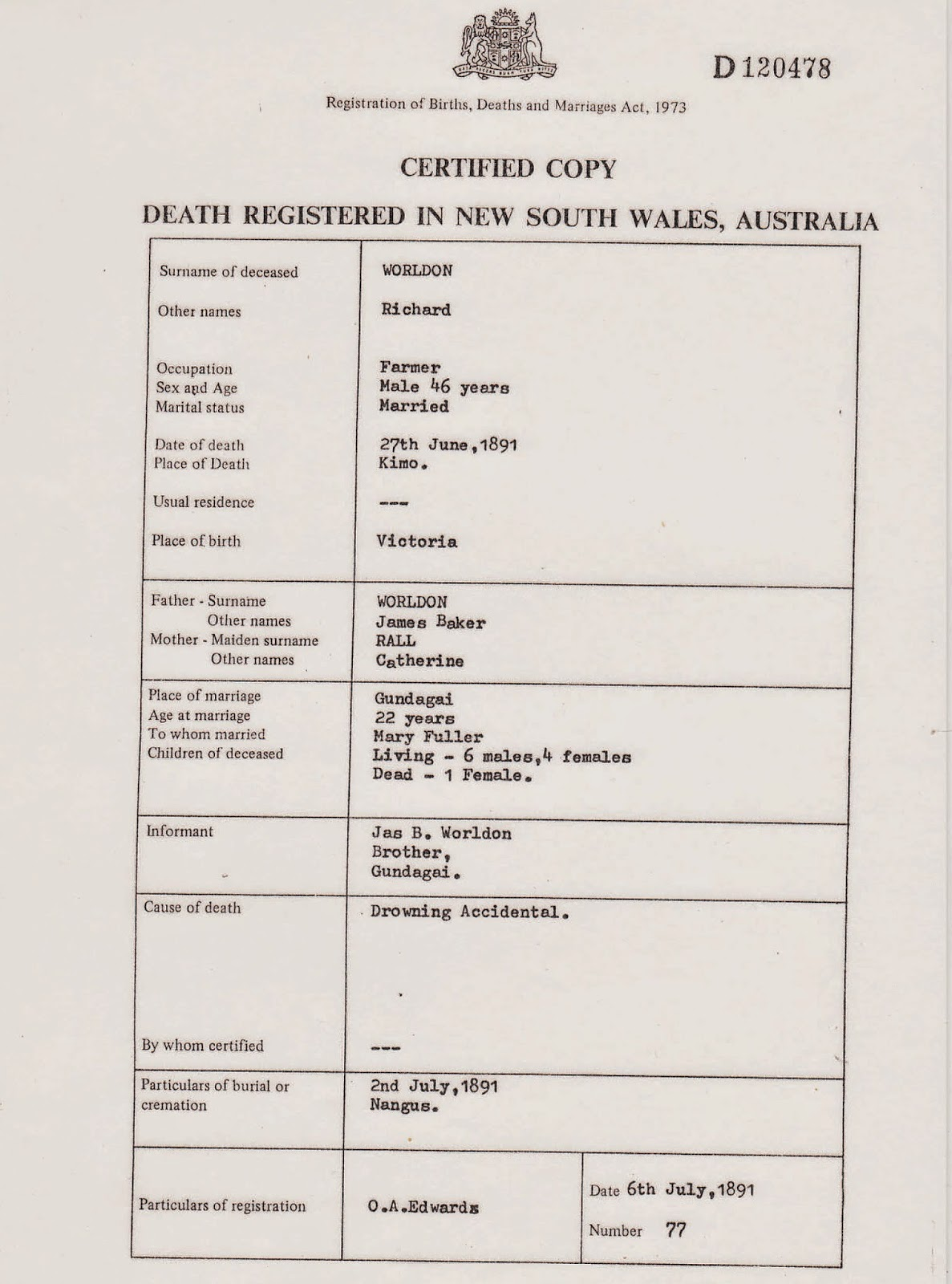 Australian roots and spreading branches september 2014 nsw bdm death certificate for richard worldon aiddatafo Choice Image