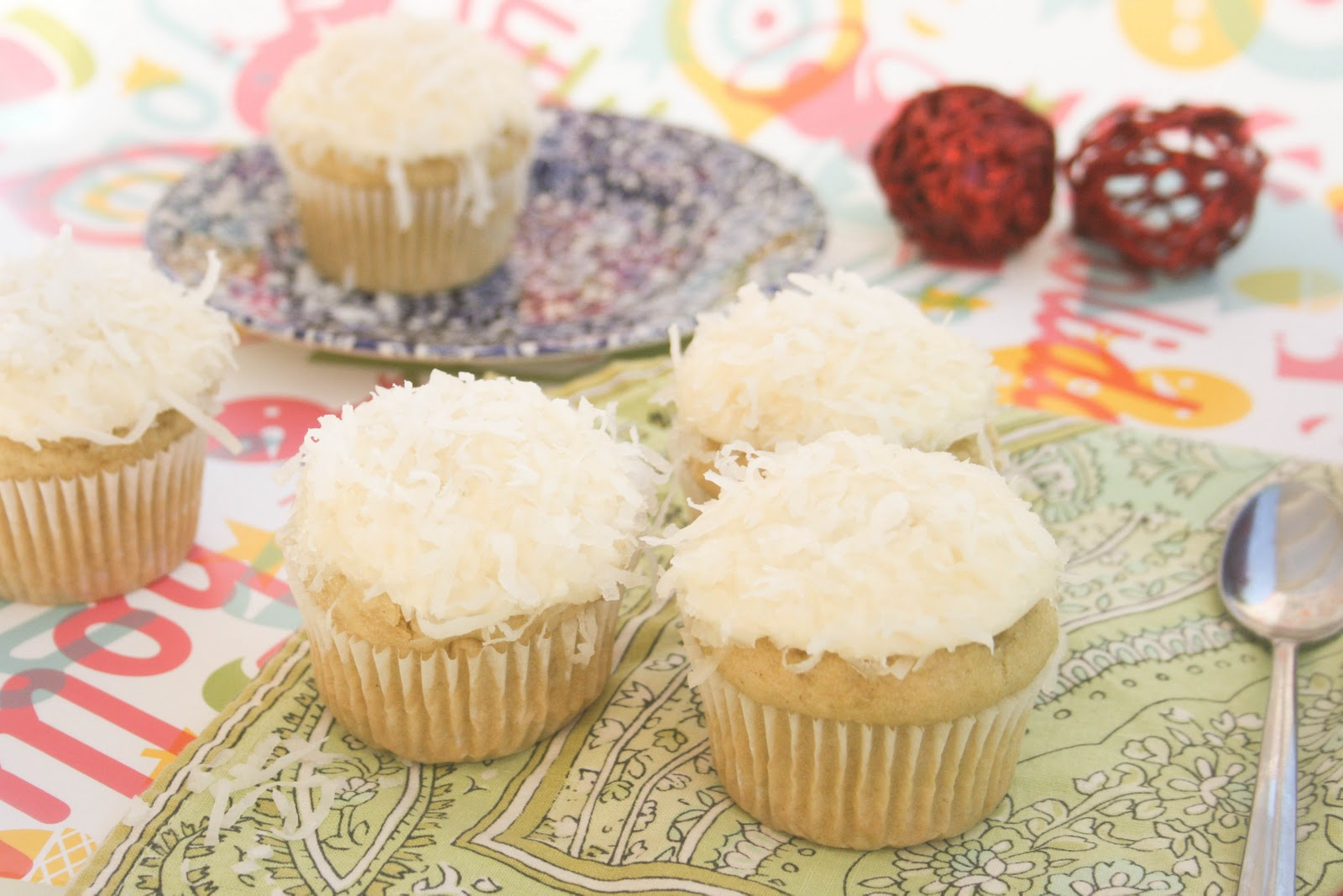 ... vanilla buttercream and then rolled the top of the cupcakes in coconut
