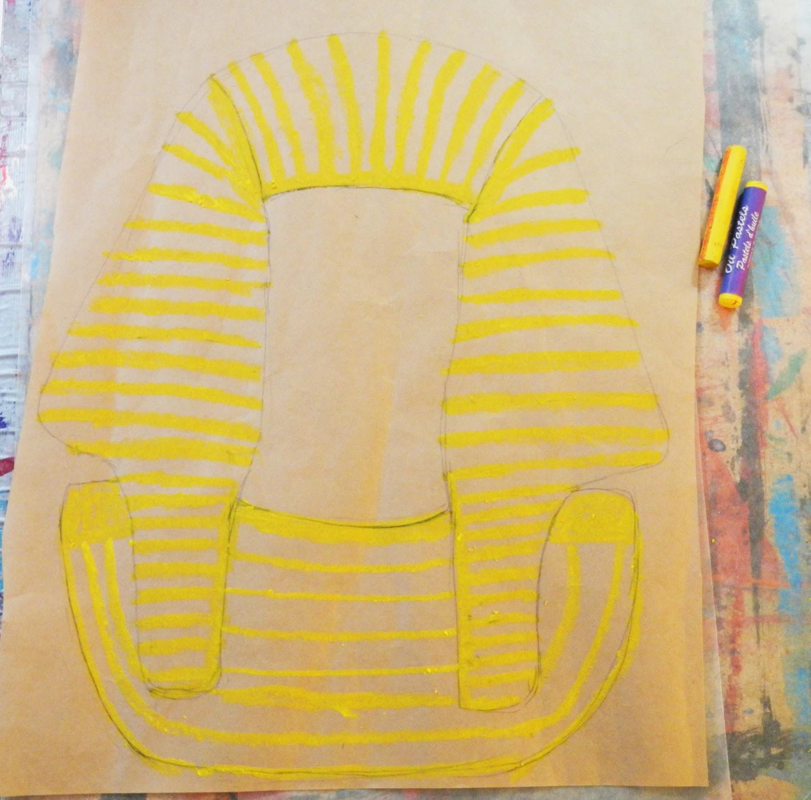 King Tut Mask Craft King tut pastel resist