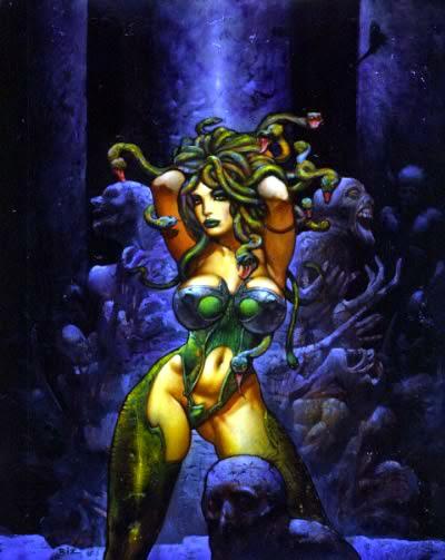 Dessin de Simon Bisley représentant une femme voluptueuse et sexy avec la chevelure de méduse
