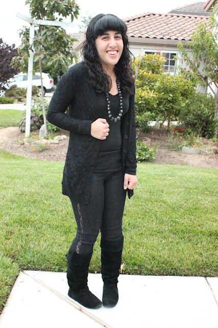 Casual All Black Outfit and Lace