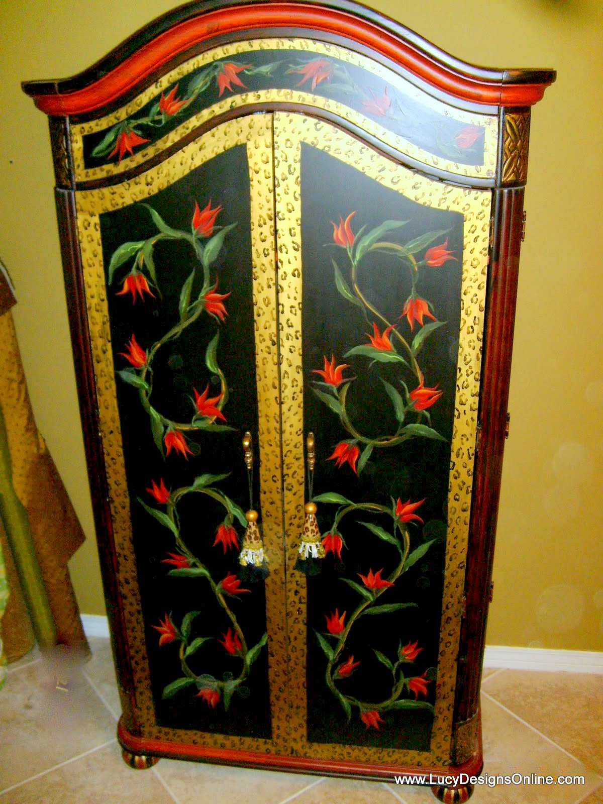 hand painted animal print and floral armoire