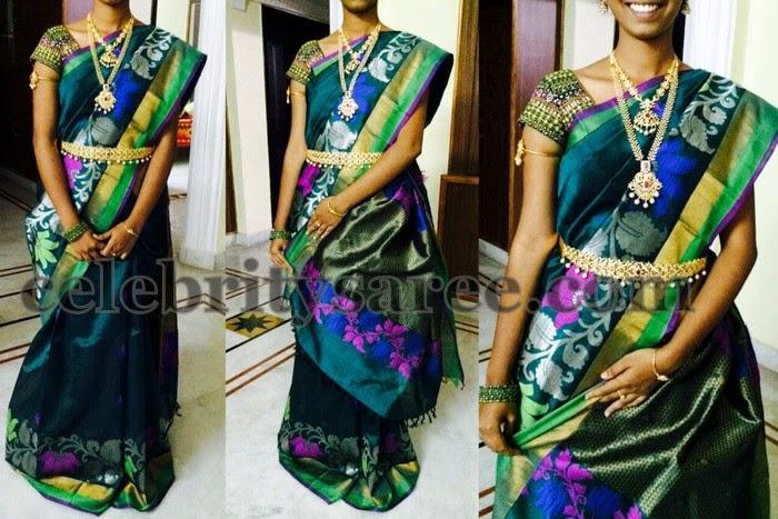 Green Kollam Pattu Saree