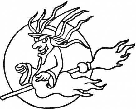 halloween coloring pages: Halloween Flying Witch Coloring Pages