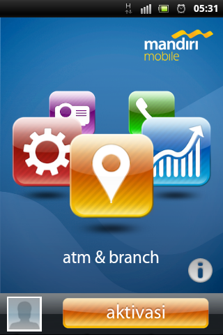 Tampilan muka aplikasi mobile banking mandiri for android