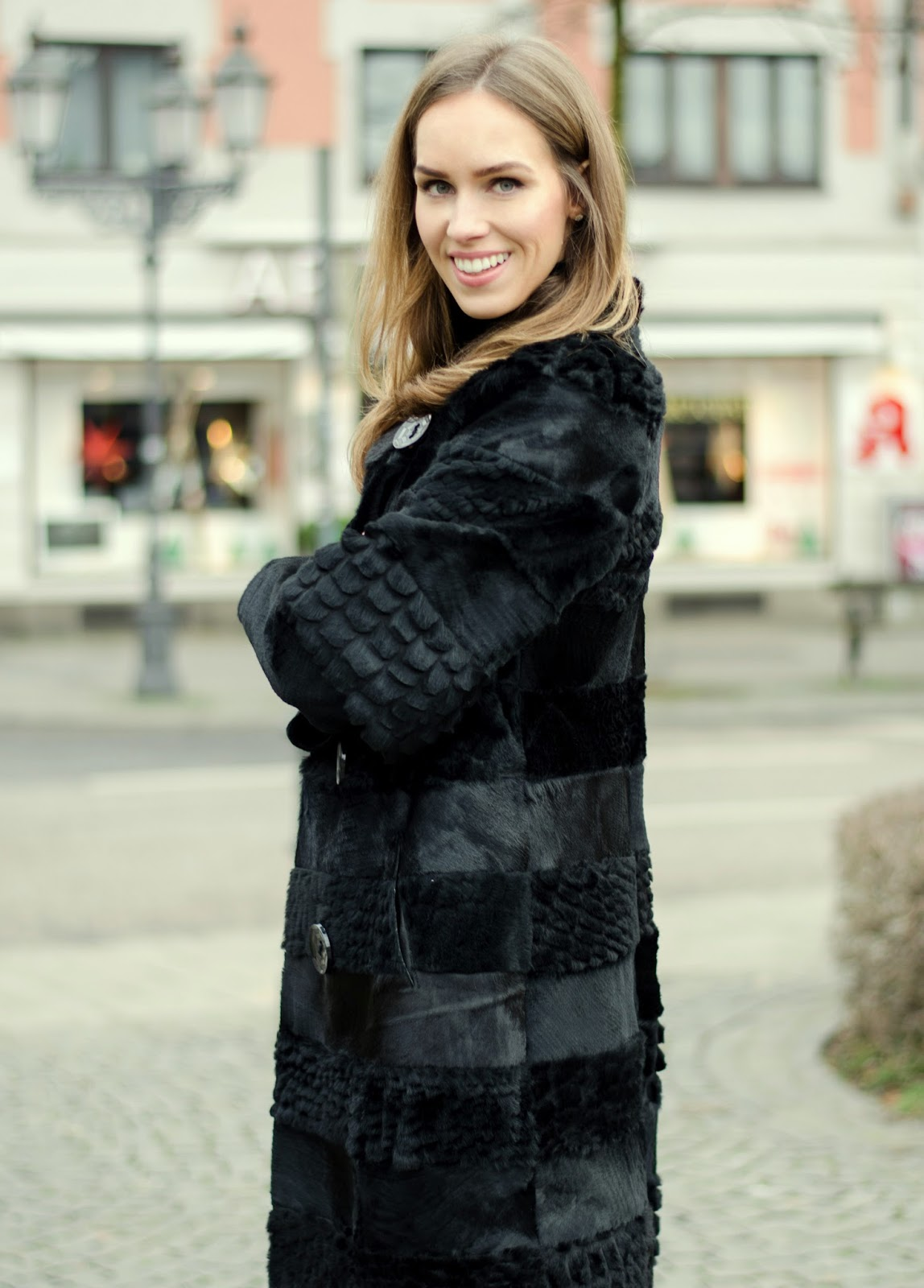 kristjaana mere textured black fur coat