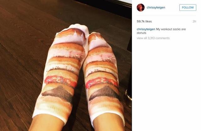 Chrissy Teigen Shares Donut Socks