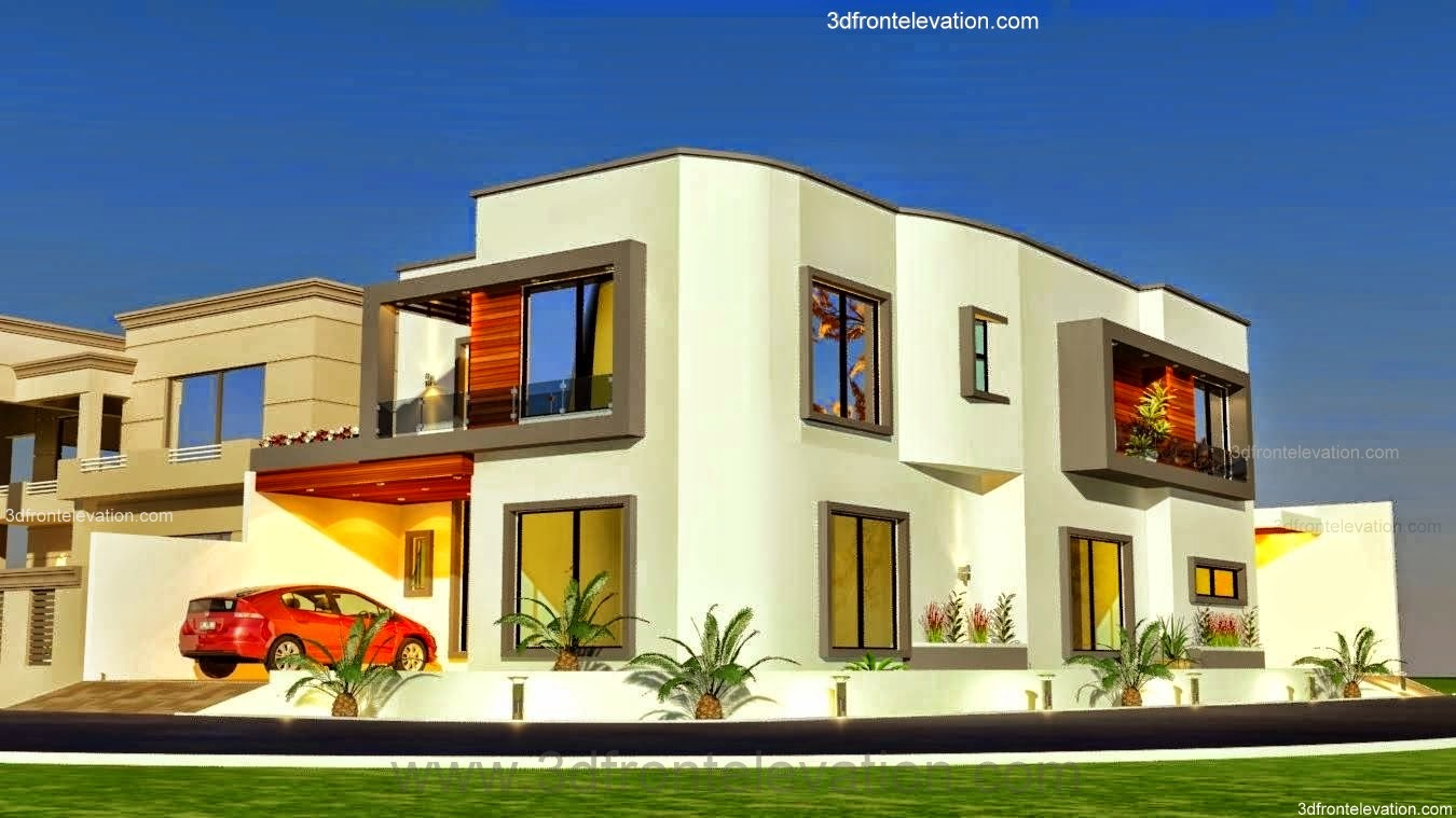 3D Front Elevation.com: 10 Marla Plot @ Modern Contemporary House ...